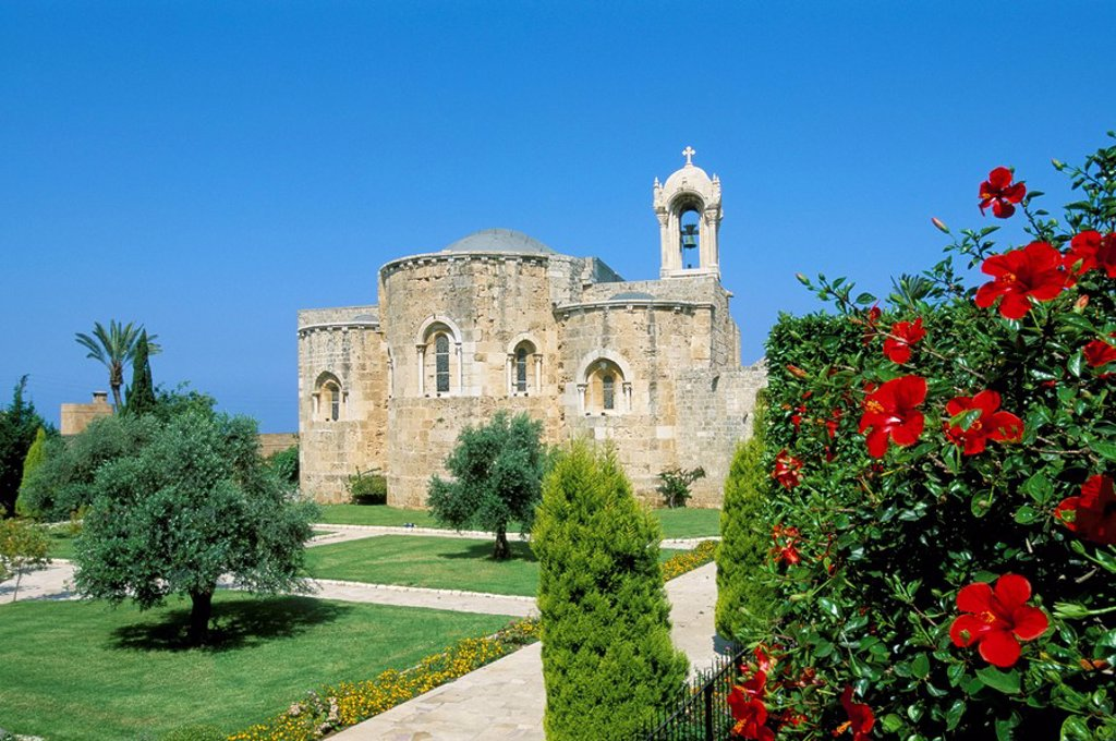 Church of St. John the Baptist, ancient town of Byblos Jbail, Mount Lebanon district, Lebanon, Middle East : Stock Photo