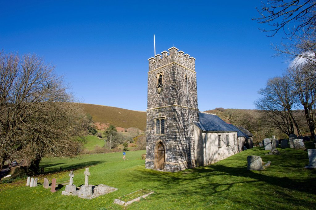 Oare parish church in Doone Country, Exmoor National Park, Somerset, England, United Kingdom, Europe : Stock Photo
