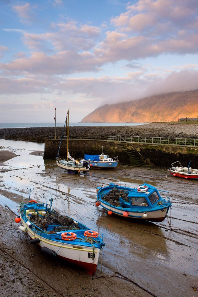Stock Photo: 1890-126266 Low tide in Lynmouth Harbour, Exmoor National Park, Devon, England, United Kingdom, Europe