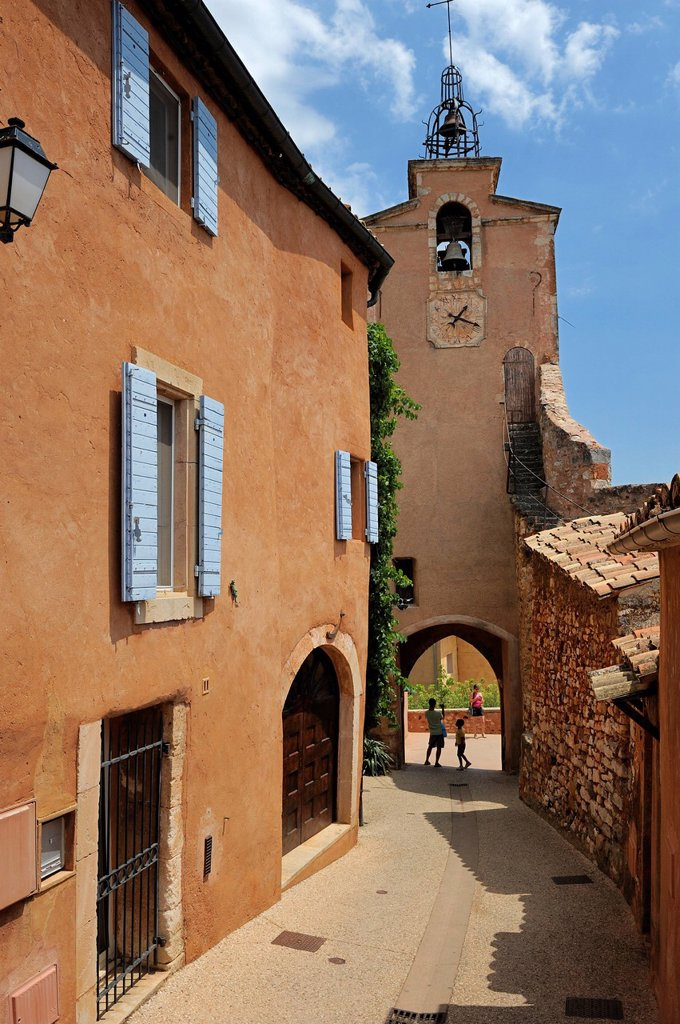 Stock Photo: 1890-126613 Old bell tower in the ochre coloured town of Roussillon, Parc Naturel Regional du Luberon, Vaucluse, Provence, France, Europe