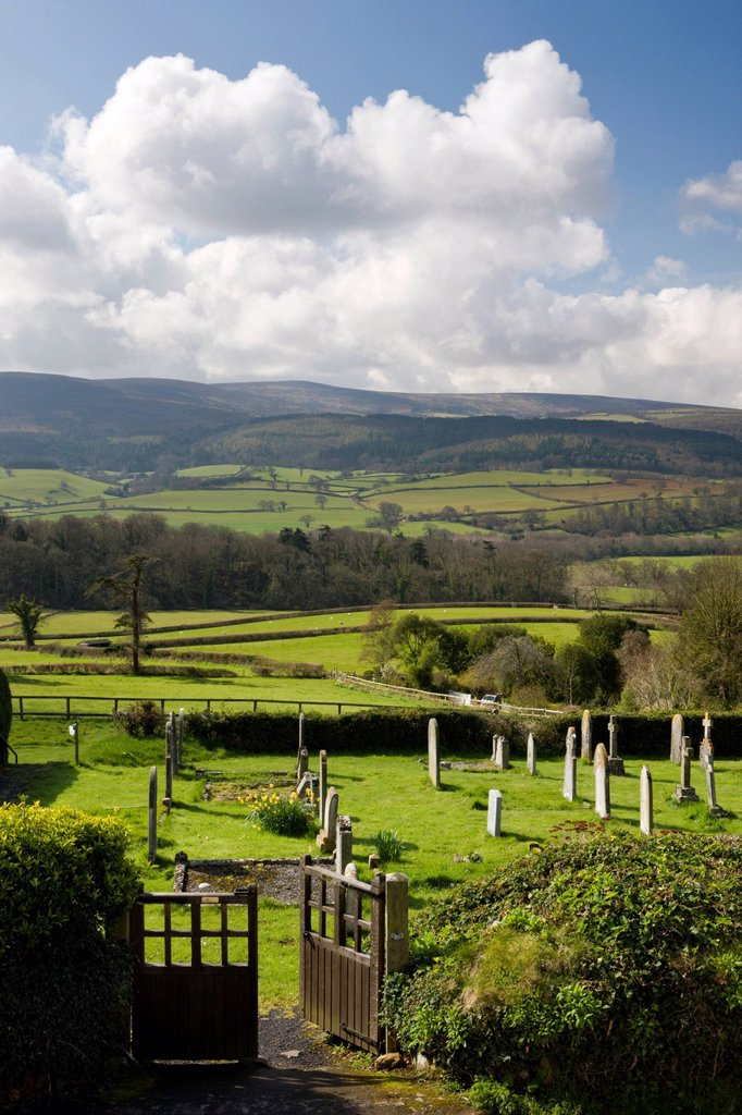 Spectacular views of Exmoor from the graveyard at Selworthy Church, Exmoor National Park, Somerset, England, United Kingdom, Europe : Stock Photo