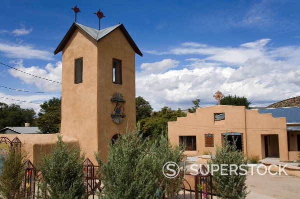 Santo Nino de Atocha Church dating from 1857 in Chimayo, New Mexico, United States of America, North America : Stock Photo
