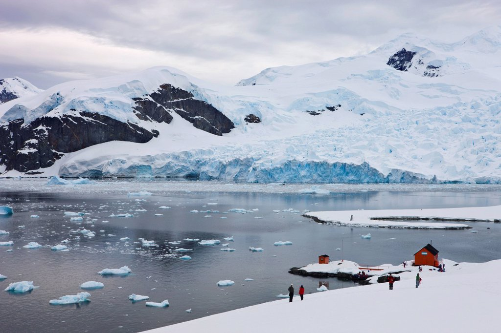 Argentine research base Almirante Brown in Paradise Harbour, Antarctica, Polar Regions : Stock Photo