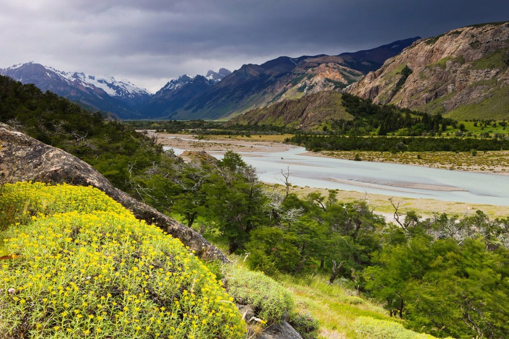 Stock Photo: 1890-127588 Looking down a braided river valley to the mountains of Los Glaciares National Park, El Chalten, Patagonia, Argentina, South America