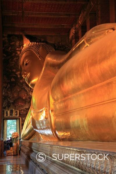 Stock Photo: 1890-127792 Reclining Buddha, 46 meters long, Wat Pho Wat Po Wat Phra Chetuphon, Rattanakosin Ratanakosin, Bangkok, Thailand, Southeast Asia, Asia