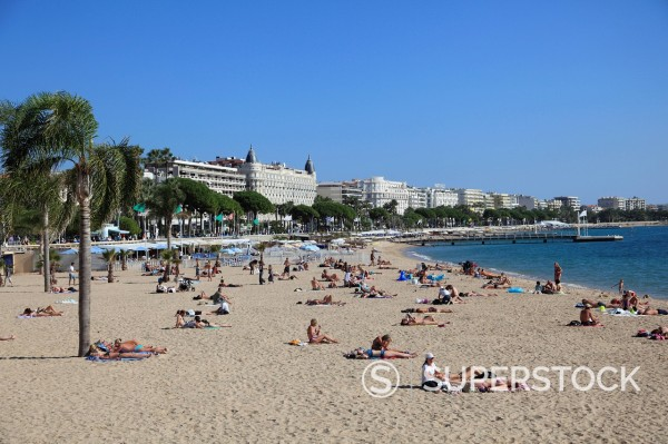 Stock Photo: 1890-127795 Beach, La Croisette, Cannes, Alpes Maritimes, Provence, Cote d´Azur, French Riviera, France, Mediterranean, Europe