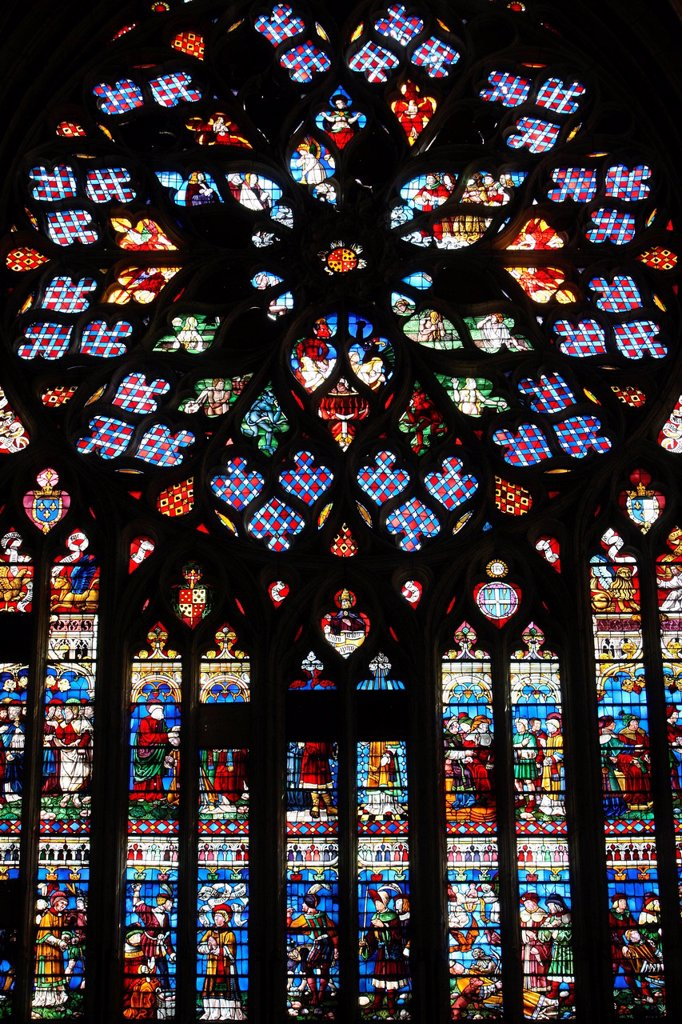 Last Judgment, Rose Window, St. Stephen´s Cathedral, Sens, Yonne, Burgundy, France, Europe : Stock Photo