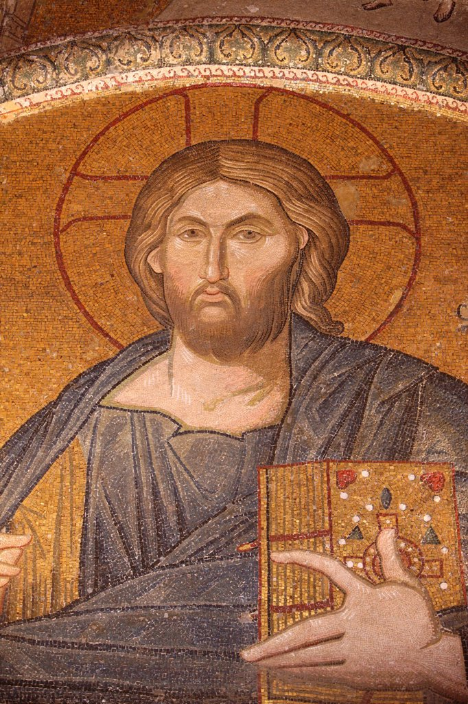 Stock Photo: 1890-127833 Jesus Pantocrator mosaic, Chora Church Museum, Istanbul, Turkey, Europe