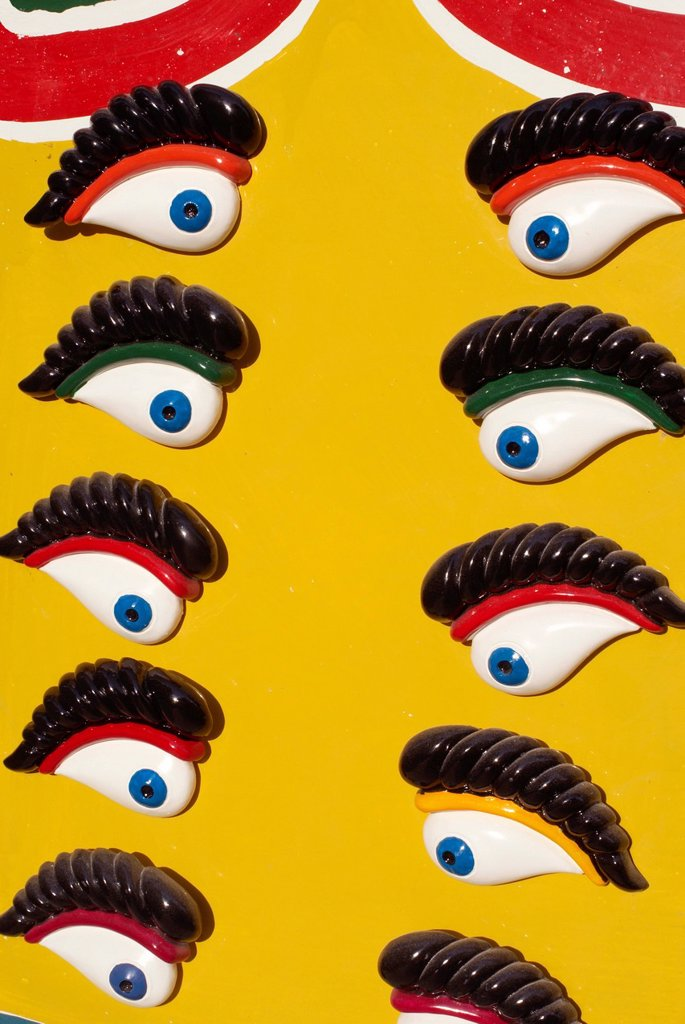 Maltese Eyes of Osiris fridge magnets, Malta, Mediterranean, Europe : Stock Photo