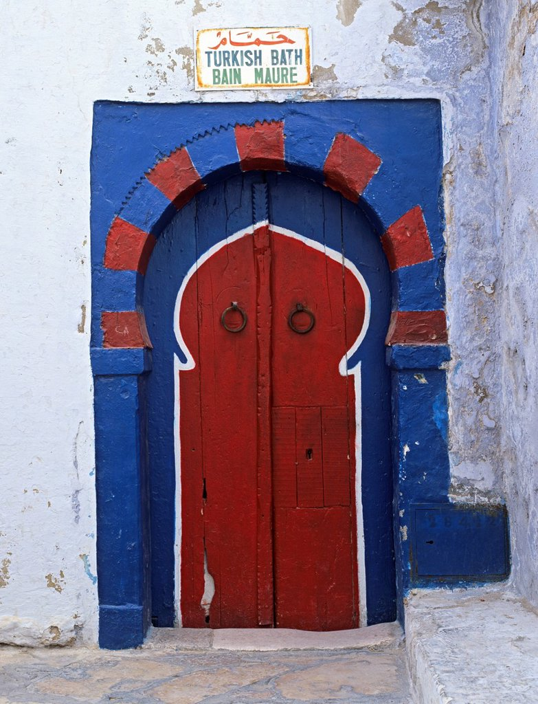 Stock Photo: 1890-128445 Doorway to Turkish baths in the Medina, Hammamet, Cap Bon, Tunisia, North Africa, Africa