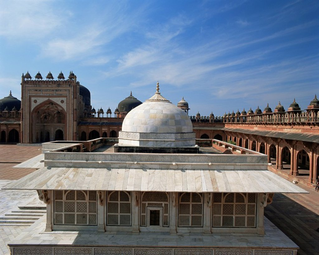 Sheikh Salim Chishti´s tomb, Darga Mosque, Fatehpur Sikri, UNESCO World Heritage Site, Uttar Pradesh state, India, Asia : Stock Photo