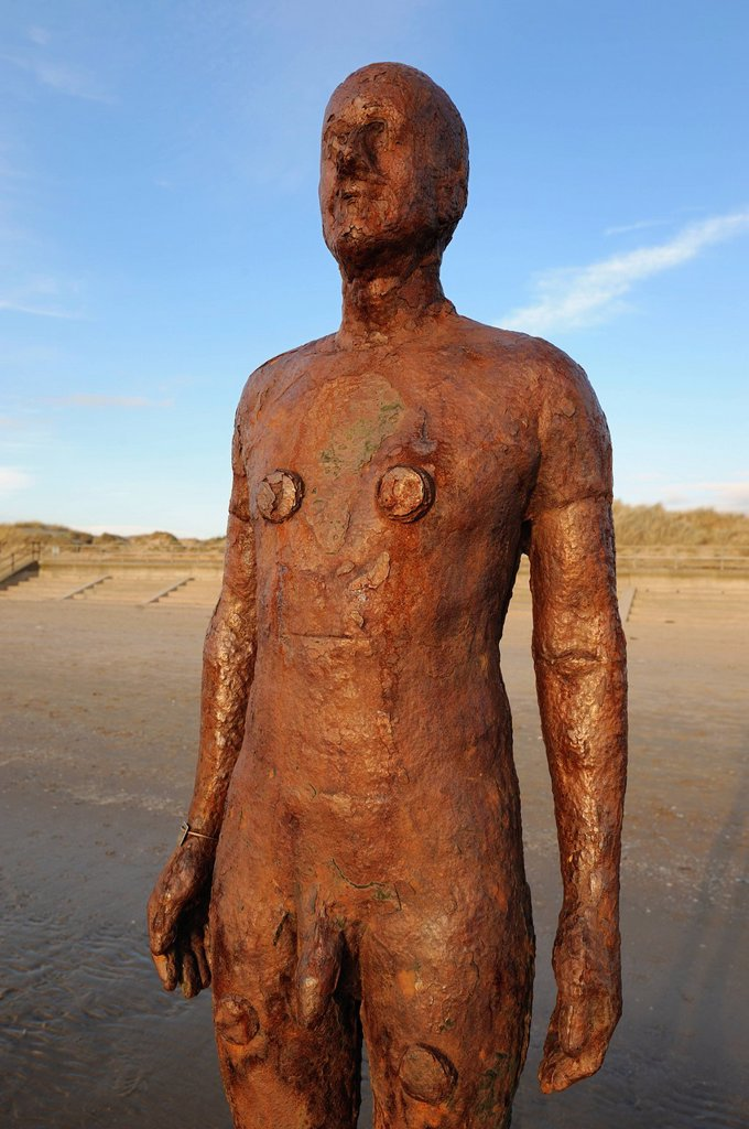 Stock Photo: 1890-128959 Antony Gormley sculpture, Another Place, Crosby Beach, Merseyside, England, United Kingdom, Europe