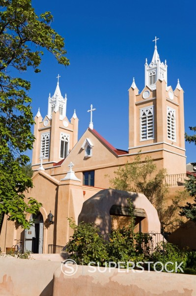 San Felipe de Neri Church in Old Town, Albuquerque, New Mexico, United States of America, North America : Stock Photo