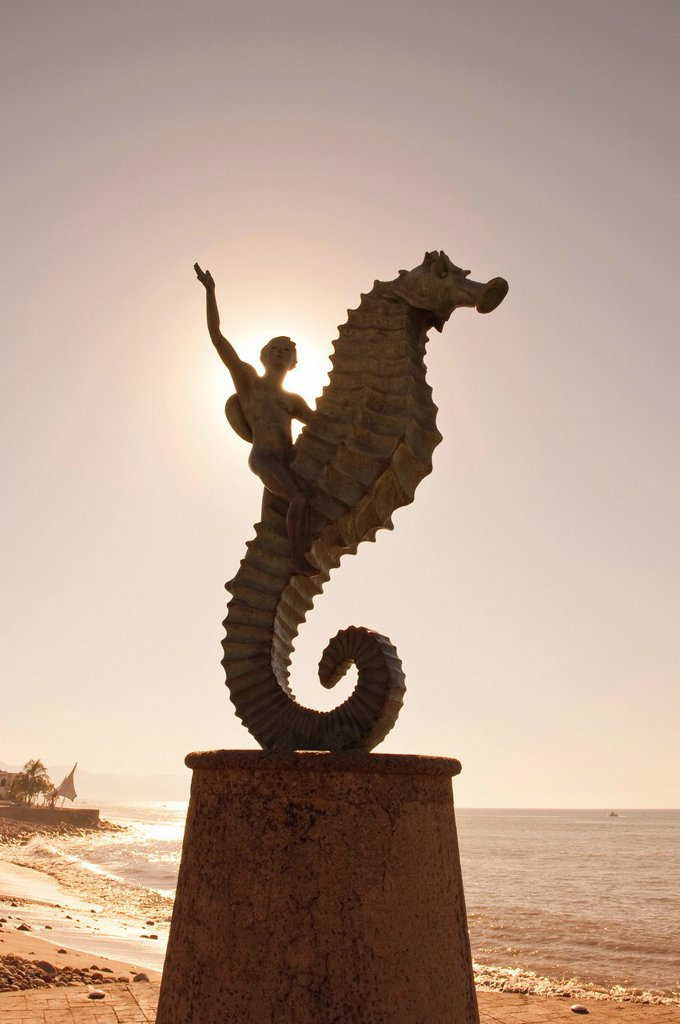 Stock Photo: 1890-129249 The Seahorse sculpture on the Malecon, Puerto Vallarta, Jalisco, Mexico, North America