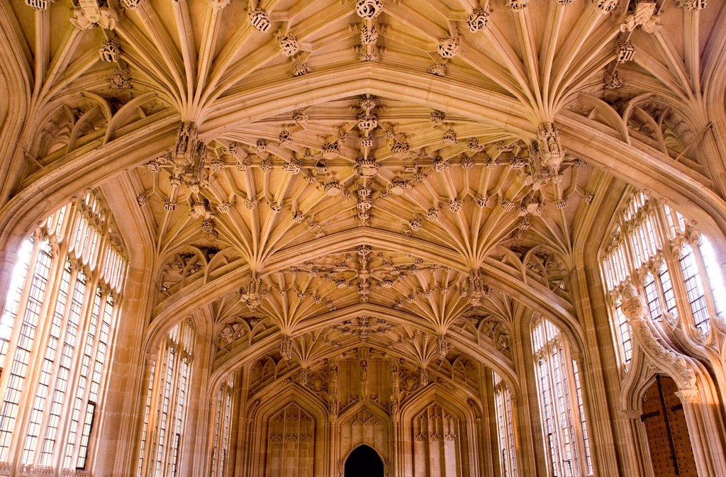 Bodleian Library interior, Oxford University, Oxford, Oxfordshire, England, United Kingdom, Europe : Stock Photo