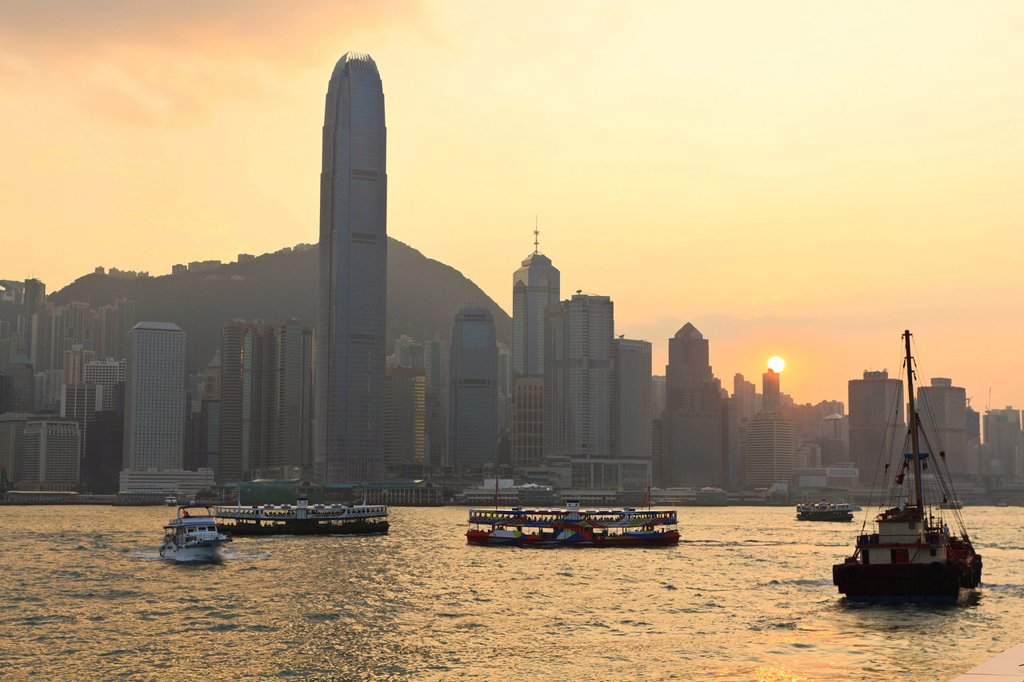 Stock Photo: 1890-129377 Star Ferry crossing Victoria Harbour towards Hong Kong Island, Hong Kong, China, Asia