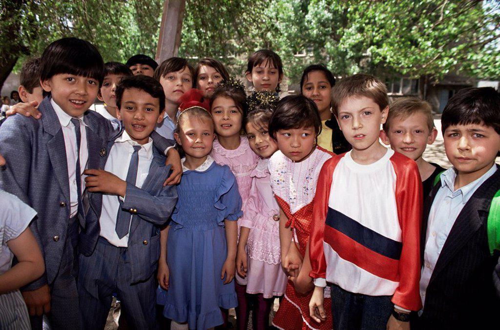 Stock Photo: 1890-12954 School children from various ethnic backgrounds, Samarkand, Uzbekistan, Central Asia, Asia