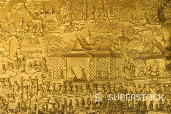 Stock Photo: 1890-129668 Gilded bas relief, Wat Mai Complex, Luang Prabang, Laos, Indochina, Southeast Asia, Asia