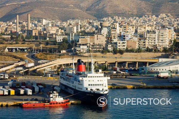 Stock Photo: 1890-130180 Ferry in Port of Piraeus, Athens, Greece, Europe