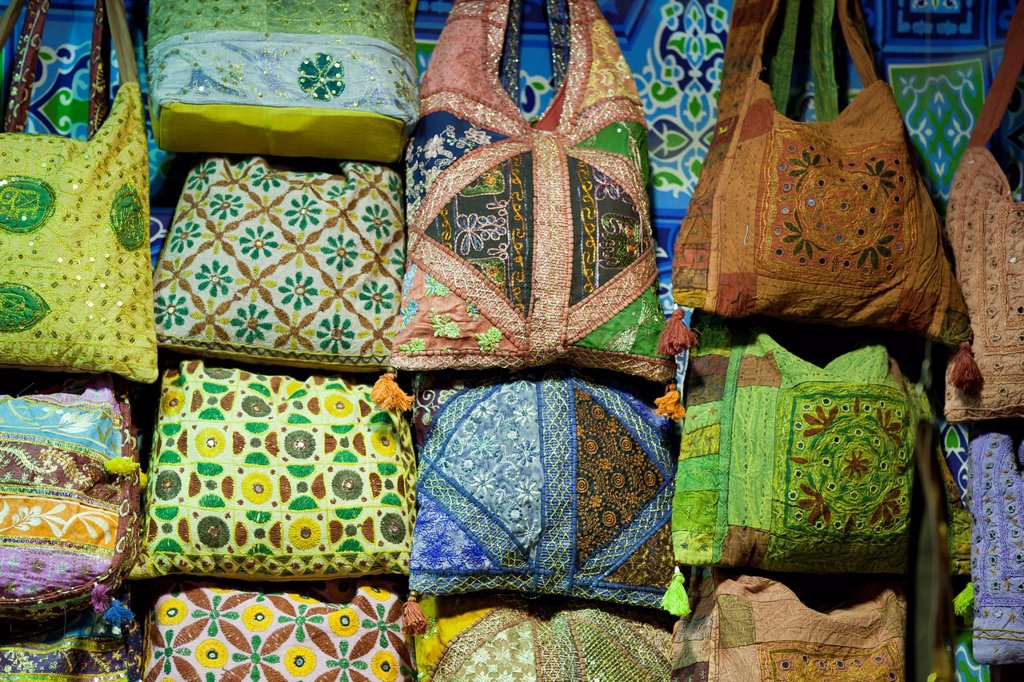 Embroidered bags for sale at the Sharia el Souk market in Aswan, Egypt, North Africa, Africa : Stock Photo