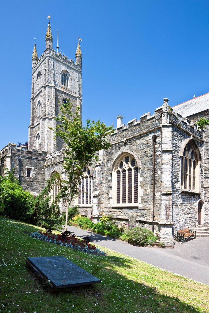 Fowey Parish Church in Fowey, Cornwall, England, United Kingdom, Europe : Stock Photo