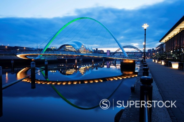 Stock Photo: 1890-130466 Gateshead Millennium Bridge, The Sage and Tyne Bridge at dusk, spanning the River Tyne between Newcastle and Gateshead, Tyne and Wear, England, United Kingdom, Europe