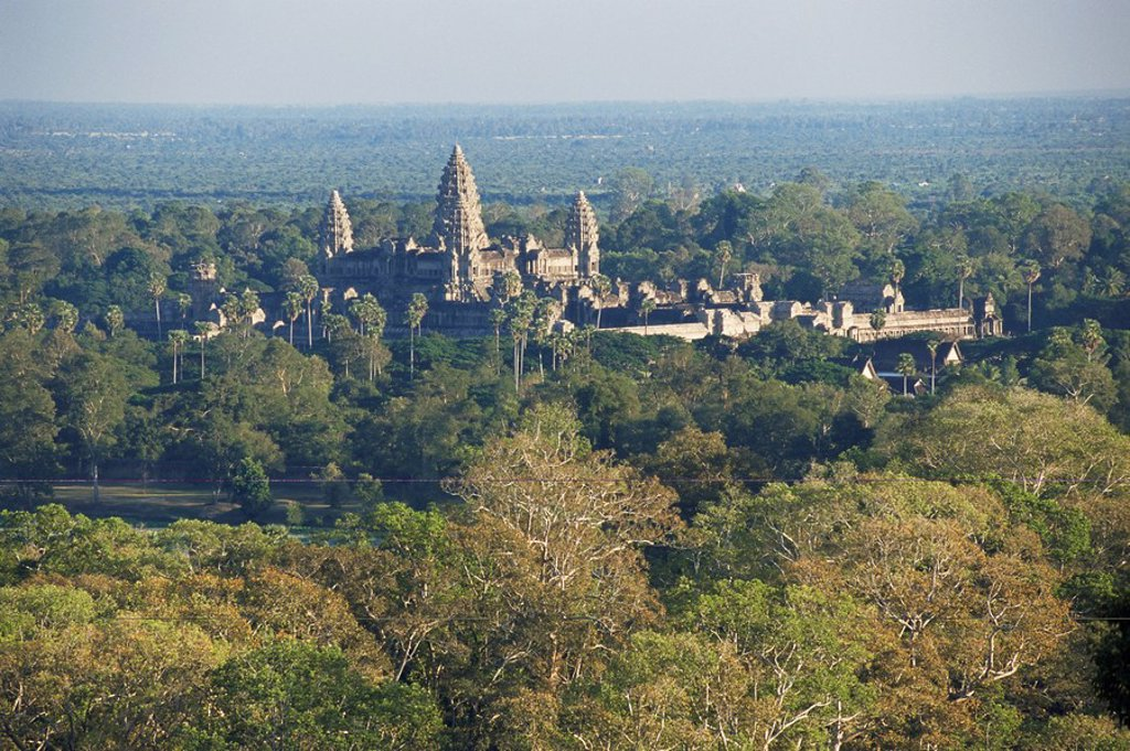 Stock Photo: 1890-13065 Elevated view of Angkor Wat, Angkor, UNESCO World Heritage Site, Siem Reap, Cambodia, Southeast Asia, Asia