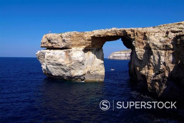 Stock Photo: 1890-130688 Azure Window, Dwejra Bay, Gozo, Malta, Mediterranean, Europe