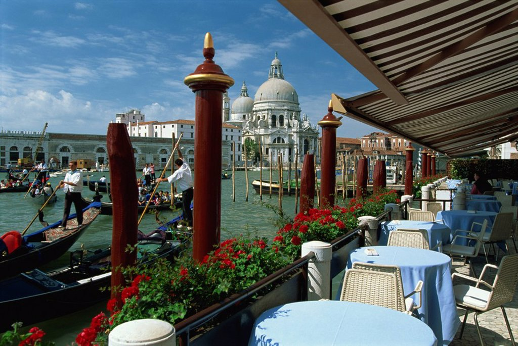 Stock Photo: 1890-13102 Outdoor restaurant beside the Grand Canal, opposite the Church of Santa Maria della Salute, Venice, UNESCO World Heritage Site, Veneto, Italy, Europe