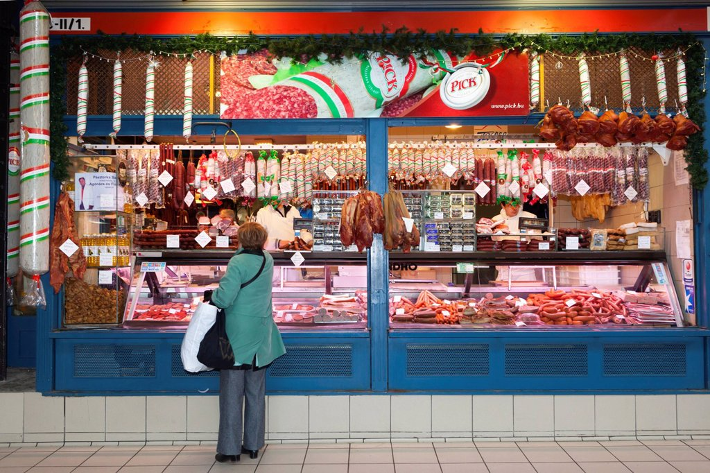Stock Photo: 1890-131176 Chorizo and sausage stall, Central Market Kozponti Vasarcsarnok, Budapest, Hungary, Europe