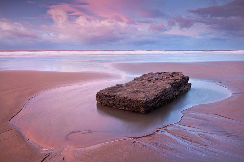 Pristine sandy beach at dawn, Southerndown, Glamorgan Heritage Coast, Wales, United Kingdom, Europe : Stock Photo