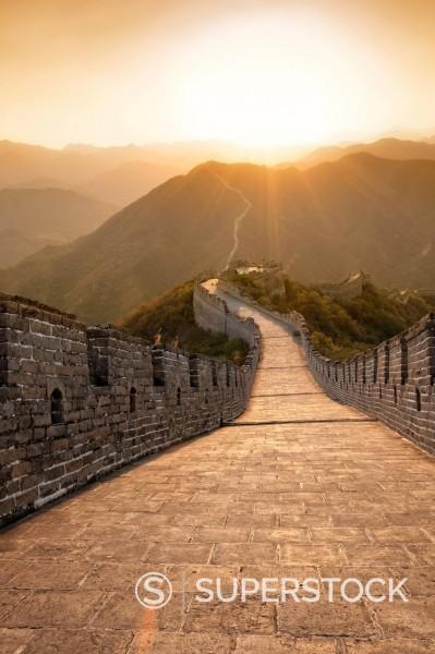 Stock Photo: 1890-131381 Great Wall of China, UNESCO World Heritage Site, Huanghuacheng Yellow Flower at sunset, Ming dynasty, Jiuduhe Zhen, Huairou, China, Asia