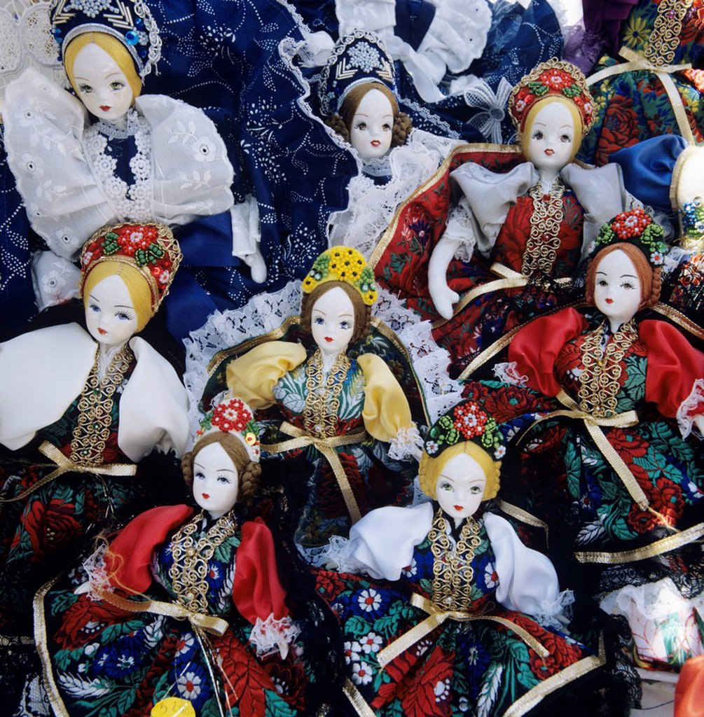 Stock Photo: 1890-131389 Souvenir dolls in traditional Hungarian costumes, Budapest, Hungary, Europe