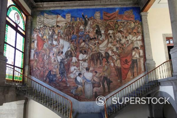 Stock Photo: 1890-131421 Mural, El Castillo de Chapultepec Chapultepec Castle, Chapultepec Park, Chapultepec, Mexico City, Mexico, North America