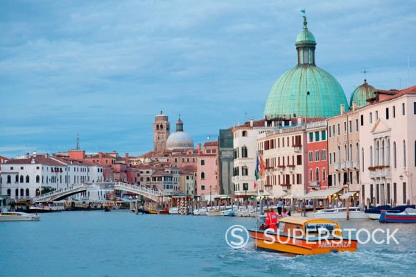Stock Photo: 1890-131551 View of the Grand Canal in front of the train station from a public waterbus, Venice, UNESCO World Heritage Site, Veneto, Italy, Europe