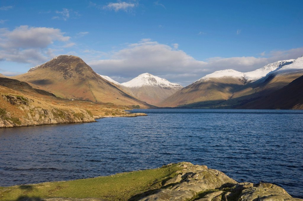 Stock Photo: 1890-131612 Wastwater with Yewbarrow, Great Gable, and Scafell Pike, Wasdale, Lake District National Park, Cumbria, England, United Kingdom, Europe