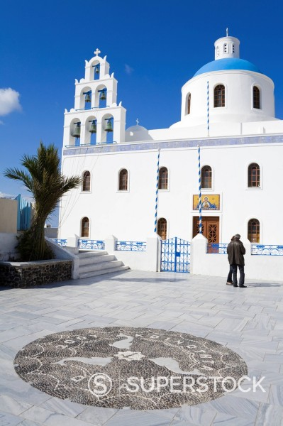 Greek Orthodox Church in Oia village, Santorini Island, Cyclades, Greek Islands, Greece, Europe : Stock Photo