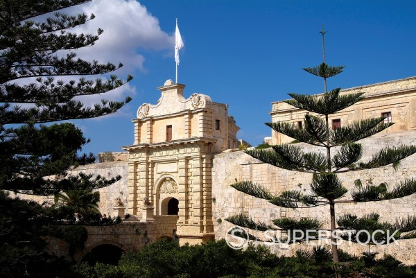 Stock Photo: 1890-131712 gate to old town, Mdina, Malta, Mediterranean, Europe