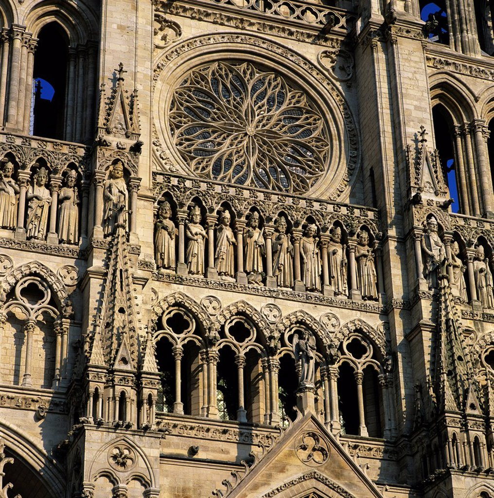 Stock Photo: 1890-131839 Detail of west front, Notre Dame Cathedral, UNESCO World Heritage Site, Amiens, Picardy, France, Europe