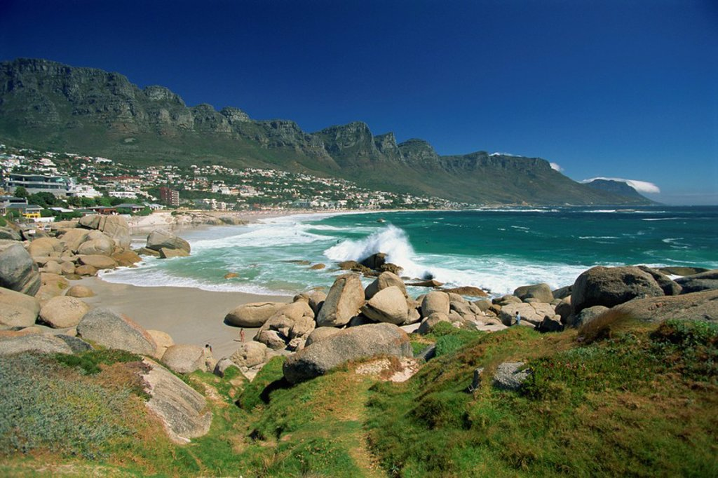 Clifton Bay and beach, sheltered by the Lion´s Head and Twelve Apostles, Cape Town, South Africa, Africa : Stock Photo