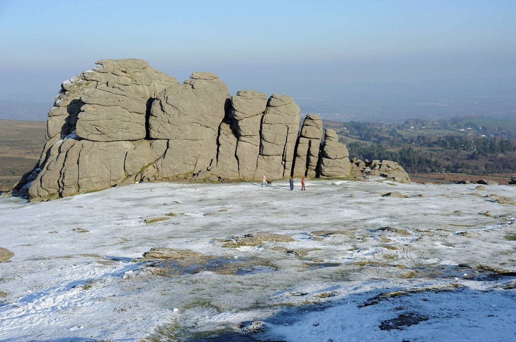 Stock Photo: 1890-132317 Haytor rocks with snow and ice, in the area where the film War Horse was filmed, Dartmoor National Park, Devon, England, United Kingdom, Europe