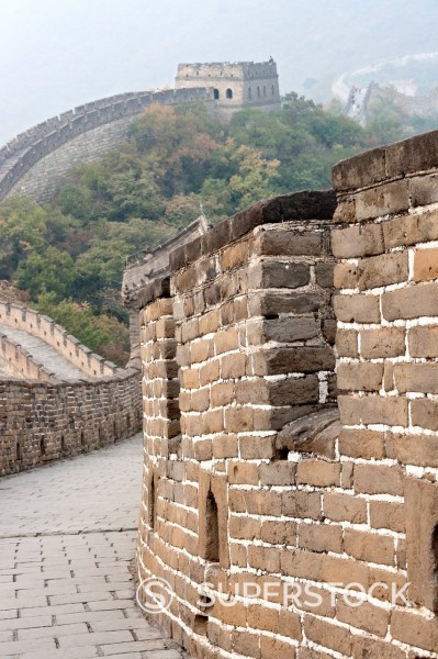 Stock Photo: 1890-132371 Close up of wall, Great Wall of China, UNESCO World Heritage Site, Mutianyu, China, Asia