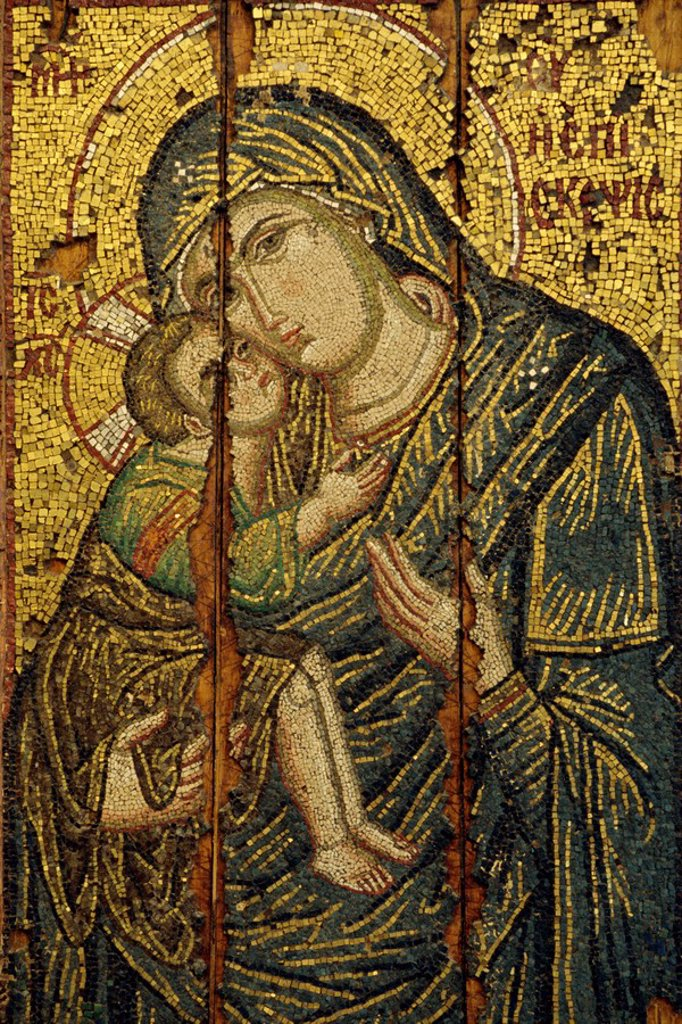 Stock Photo: 1890-13248 A 14th century icon of the Virgin Episkepis, in the Byzantine Museum in Athens, Greece, Europe