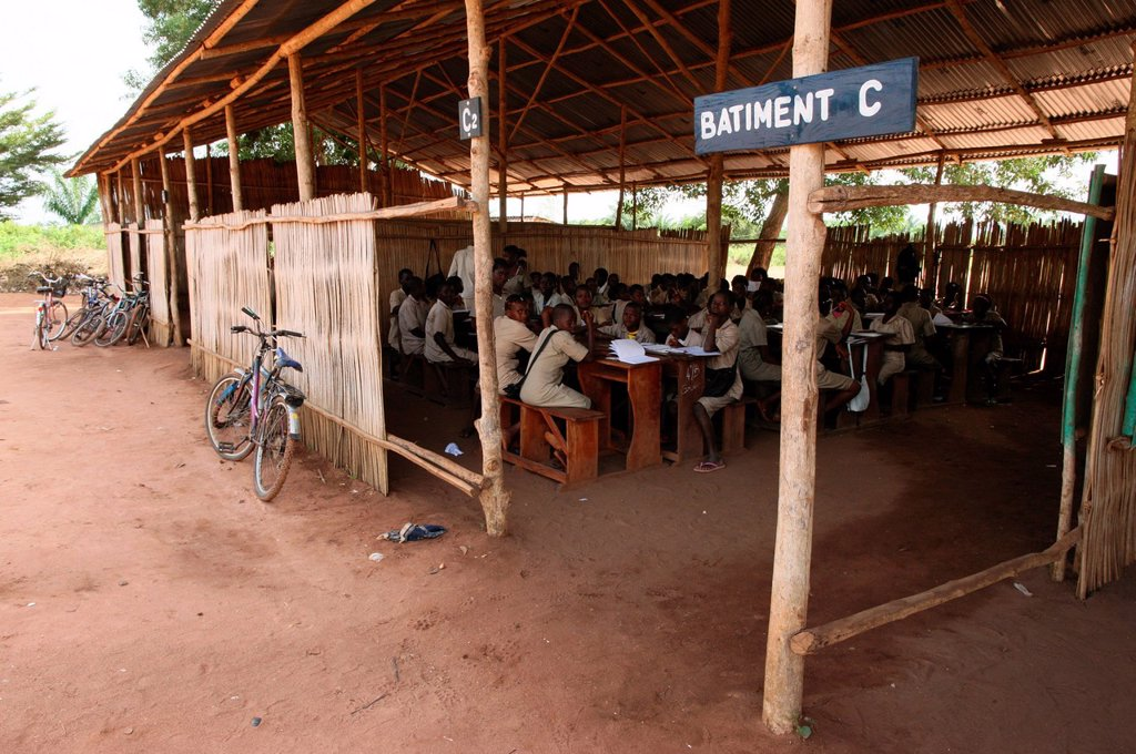 Secondary school in Africa, Hevie, Benin, West Africa, Africa : Stock Photo