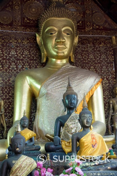 Stock Photo: 1890-132735 Sitting Buddha in the Main Temple, Wat Xieng Thong, UNESCO World Heritage Site, Luang Prabang, Laos, Indochina, Southeast Asia, Asia