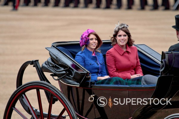 Stock Photo: 1890-133324 Princess Beatrice and Princess Eugenie of York, Trooping the Colour 2012, The Quuen´s Birthday Parade, Whitehall, Horse Guards, London, England, United Kingdom, Europe