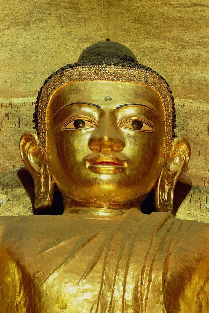 Stock Photo: 1890-13355 Standing Buddha, Ananda Pahto Temple, Bagan Pagan, Myanmar Burma, Asia