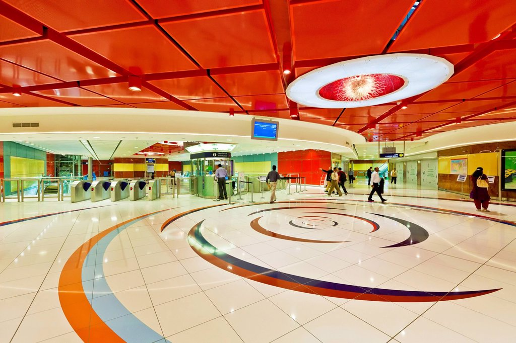 Stock Photo: 1890-133710 Al Fahidi Metro Station interior, Bur Dubai, Dubai, United Arab Emirates, Middle East