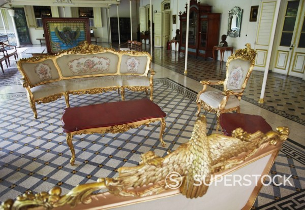Stock Photo: 1890-133799 Sitting room inside Puri Mangkunegaran Palace of the Second House of Solo, Solo, Java, Indonesia, Southeast Asia, Asia