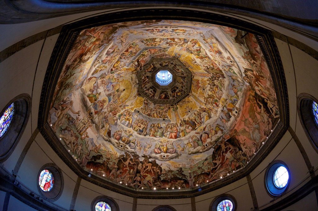 Stock Photo: 1890-133874 Last Judgement frescoes of the dome of Brunelleschi, by Vasari and Zuccari, Florence, UNESCO World Heritage Site, Tuscany, Italy, Europe